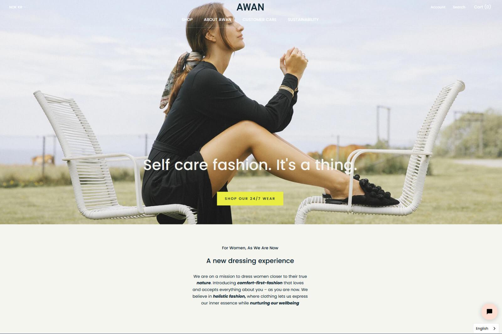 Awan nettbutikk forsiden september 2021