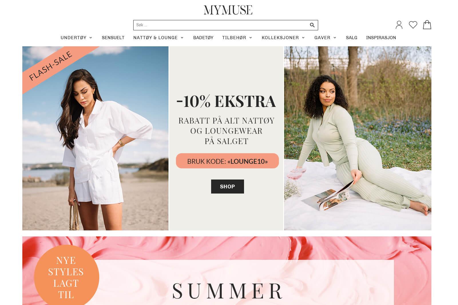 MyMuse.no nettbutikk forside Juli 2021