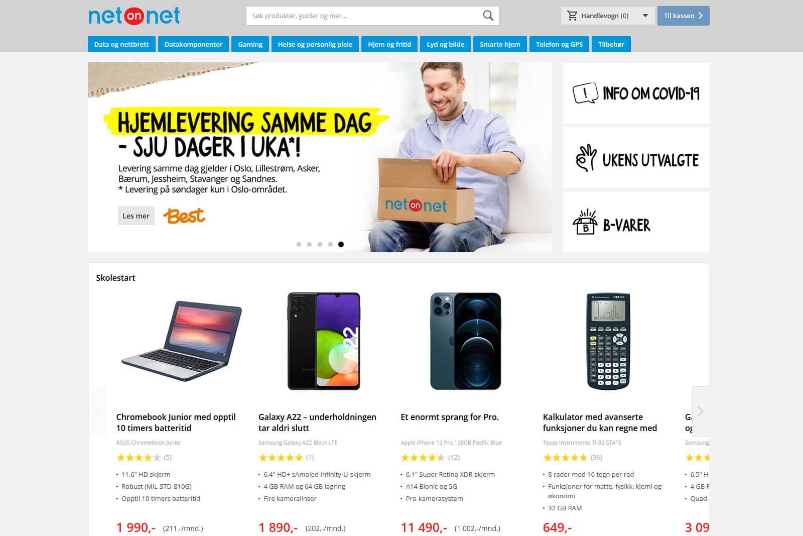 NetOnNet nettbutikk forside sep 2021