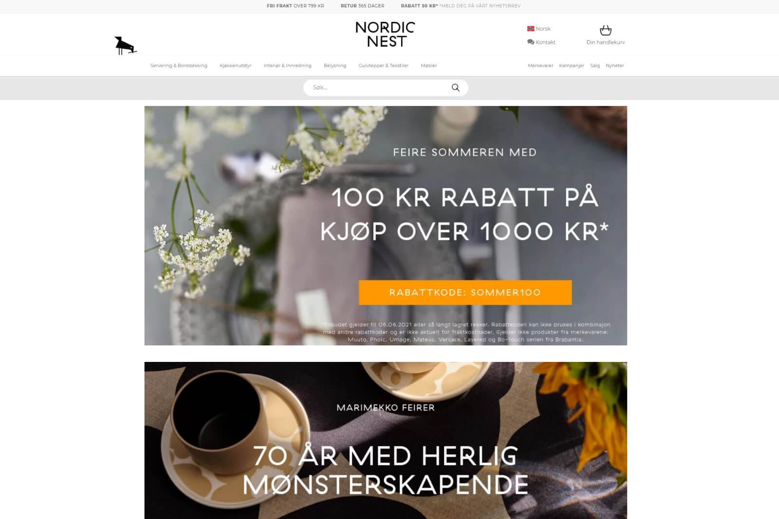 Nordic Nest nettbutikk forside