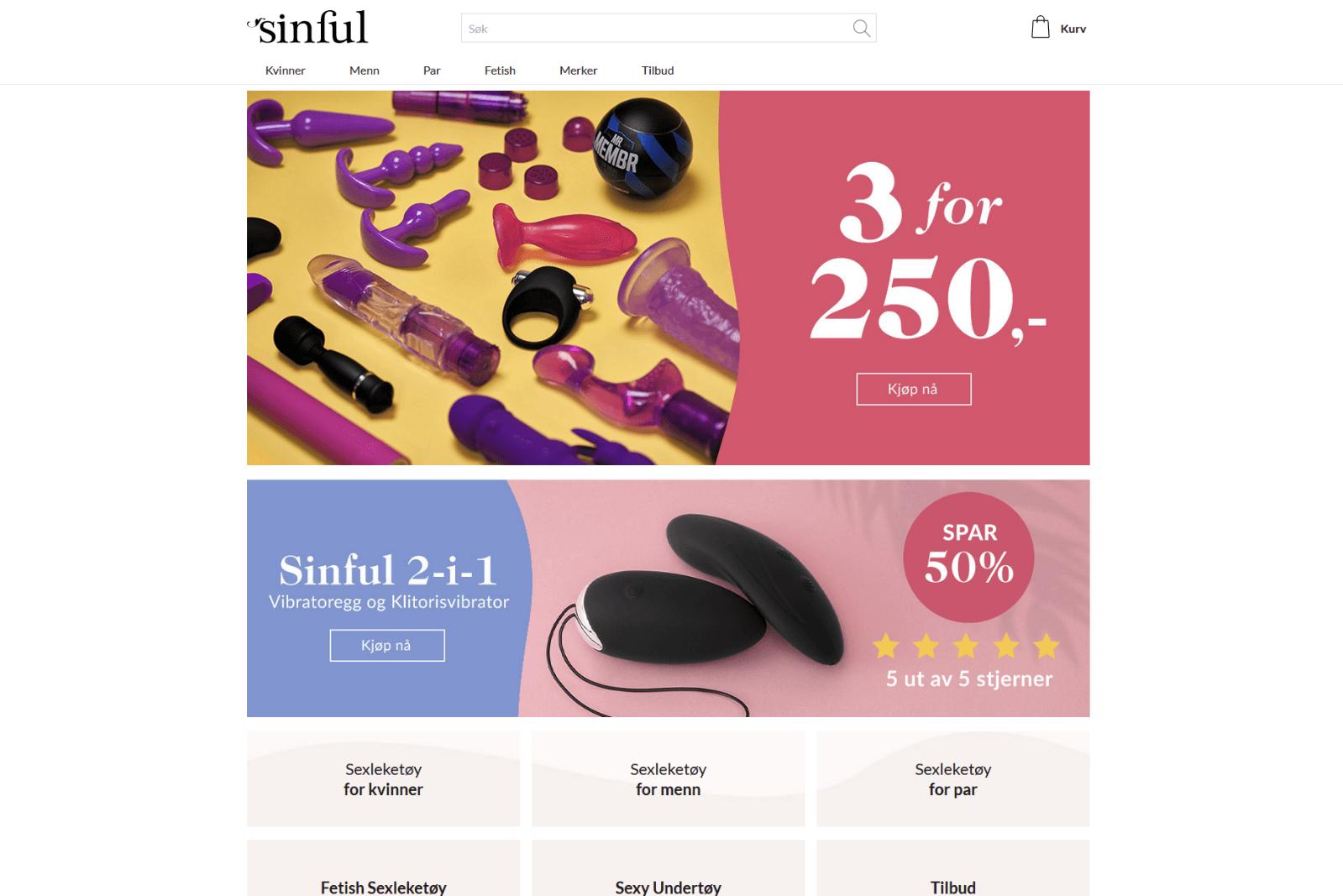 Sinful erotisk nettbutikk forside